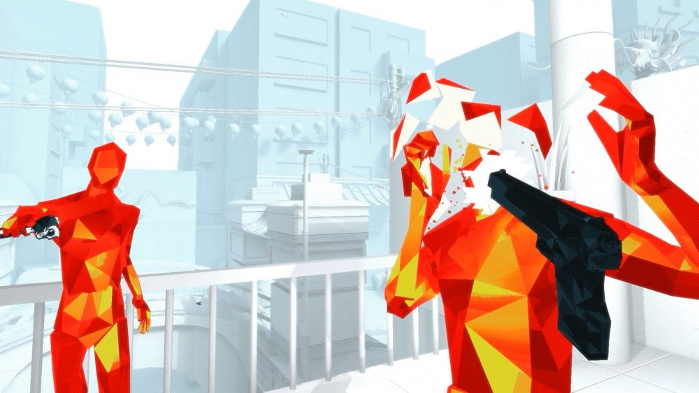 An in-game screenshot of Superhot VR, with enemies chasing the player.