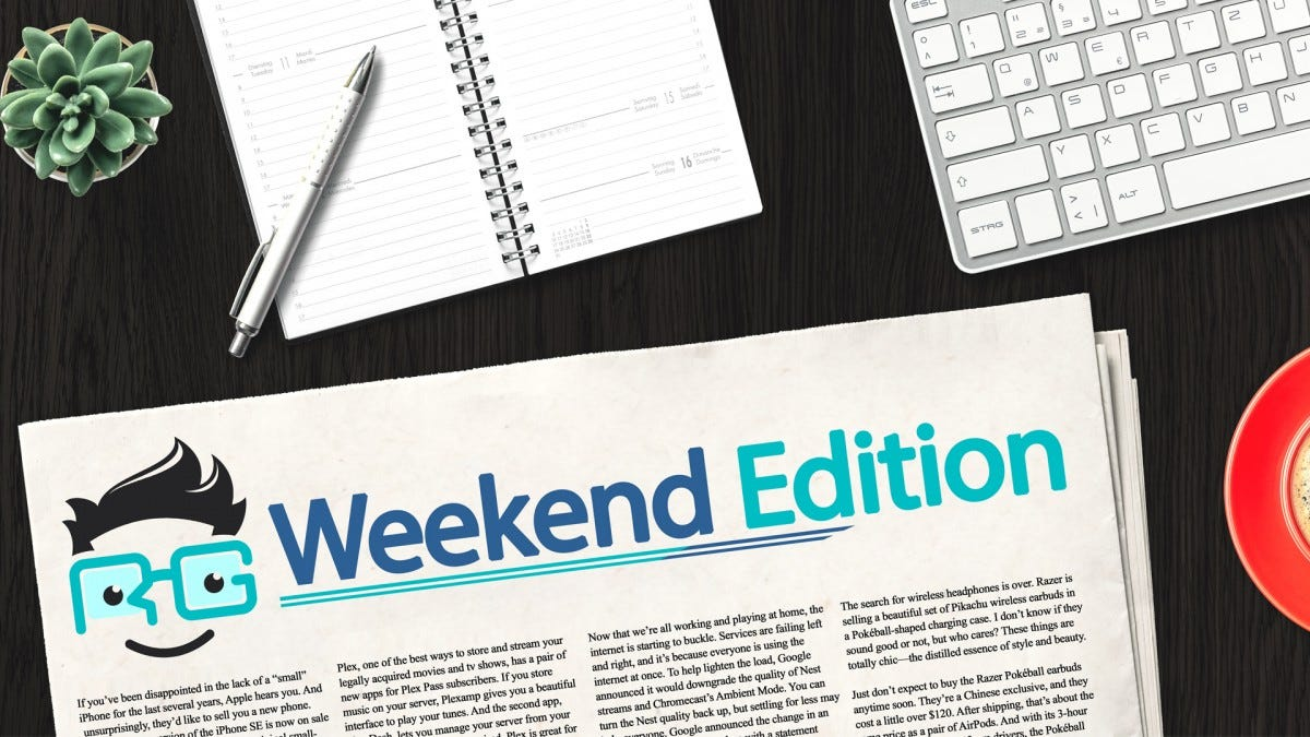 """Fake newspaper with """"Weekend Edition"""" and the Review Geek logo on a desk"""