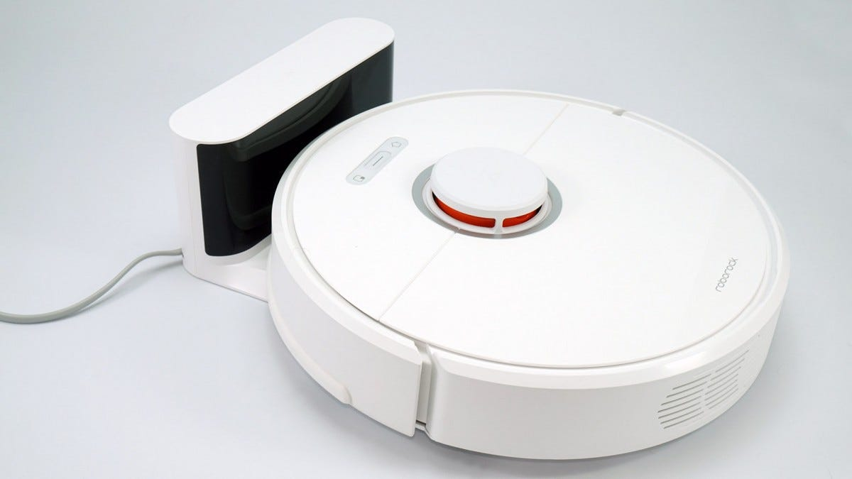 The S6 robot vacuum on its charging station.