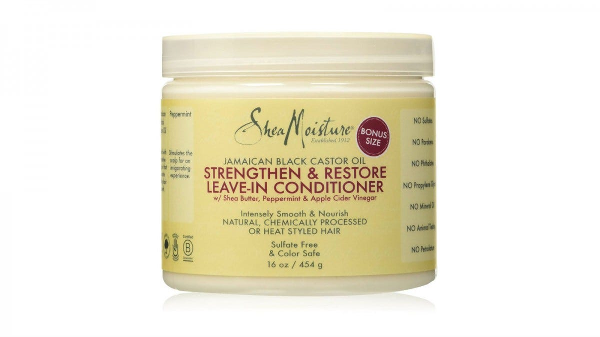 A jar of SheaMoisture Jamaican Black Castor Oil Strengthen and Restore Leave-In Conditioner.