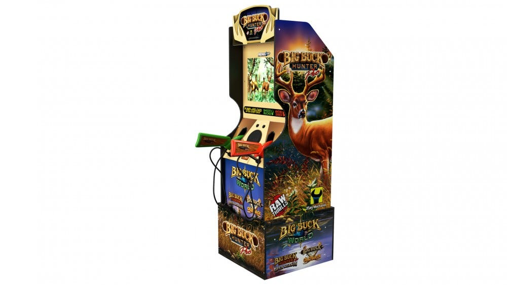 Big Buck Hunter Arcade Machine on a white background.
