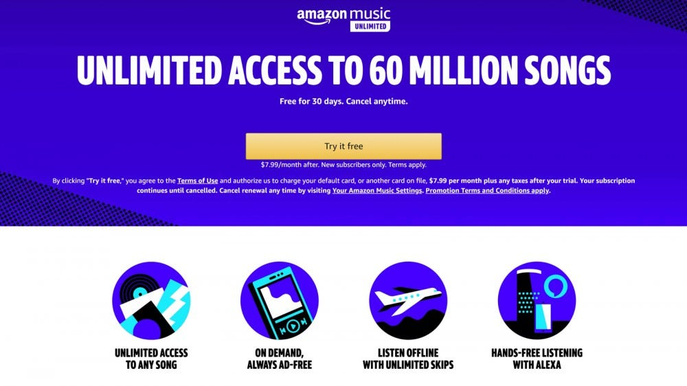 Amazon Music Unlimited website showing four features