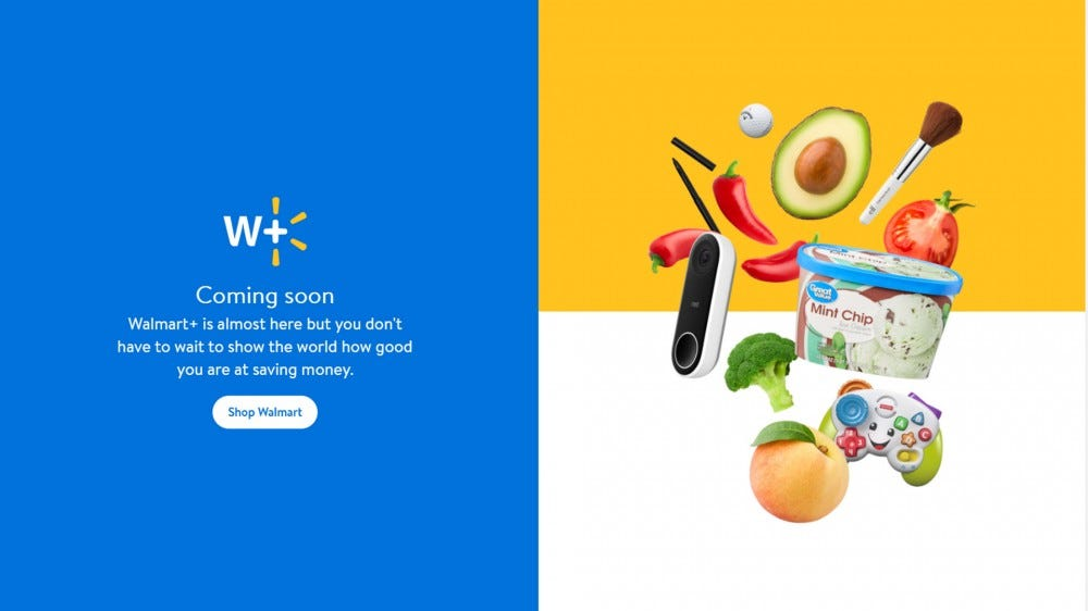 screenshot of a walmart+ pre-launch site