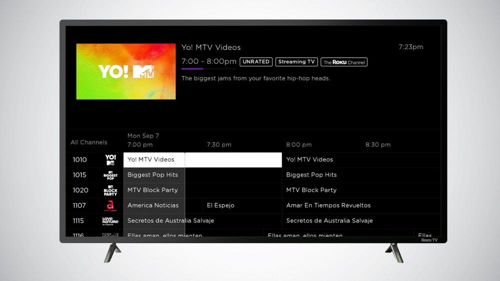 Roku live TV channel guide