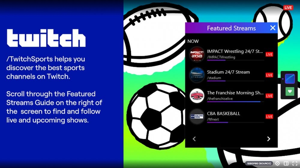 A screenshot of the TwitchSports channel.