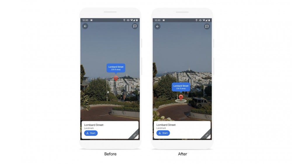 Google's more precise pin position in the live view