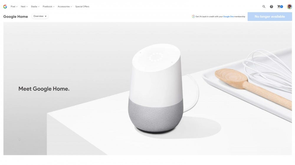 The Google Home sold out on the Google Store