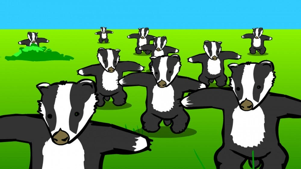 A screenshot from the classic Badger Flash animation.