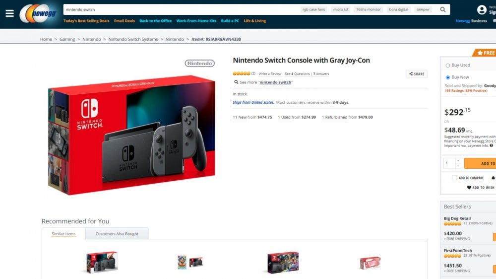 Nintendo Switch on Newegg