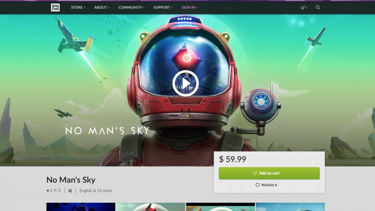 A screenshot of the No Man's Sky page on the GOG website.