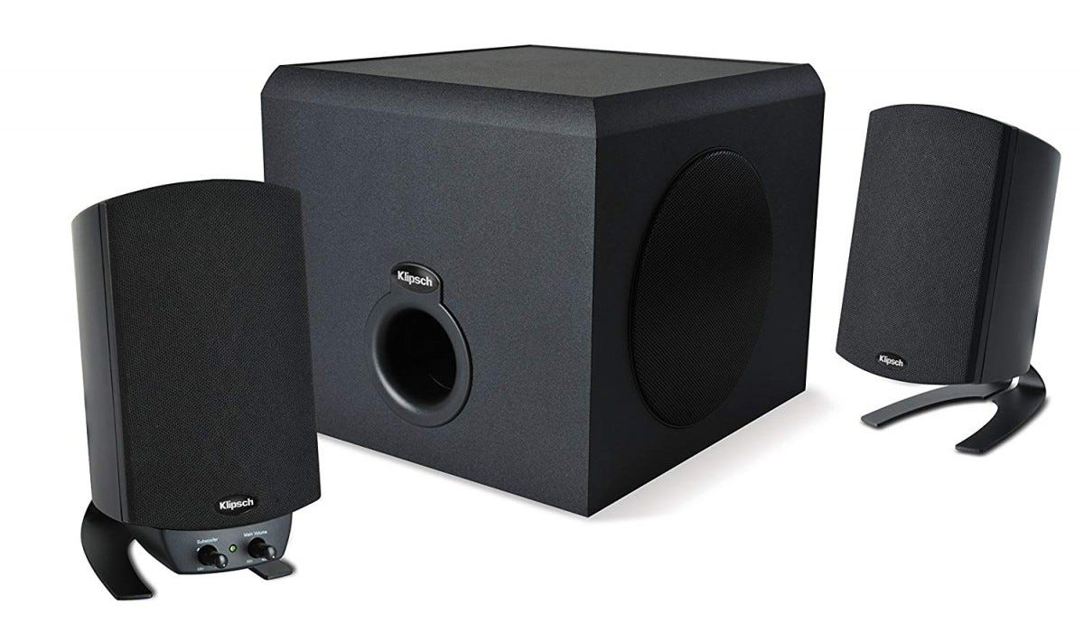speakers, pc speakers, promedia, klipsch, 2.1 speakers