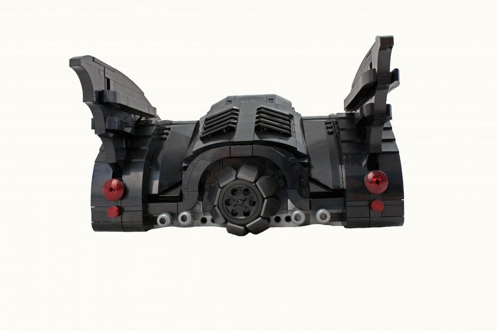 A view of the Batmobile seen from the rear.