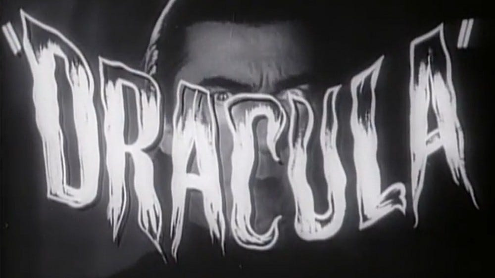 "Universal Pictures' ""Dracula"" from 1931 title"