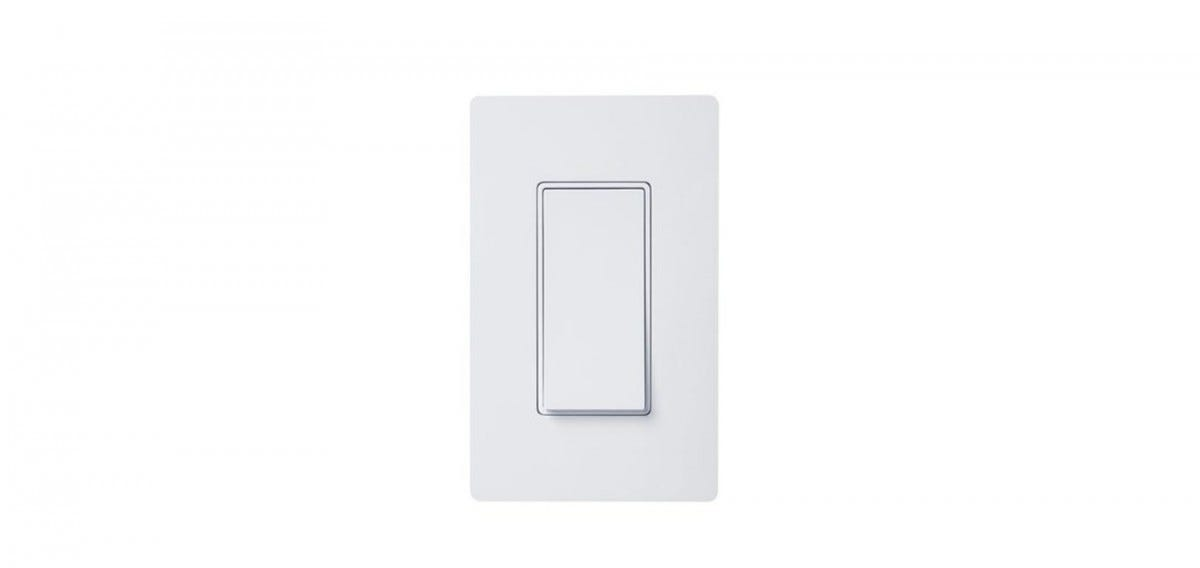A white paddle-style light switch.