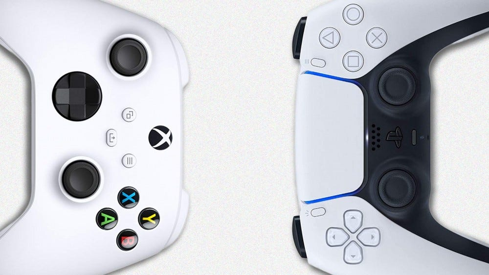 The Xbox and PS5 DualSense controllers on a white background.