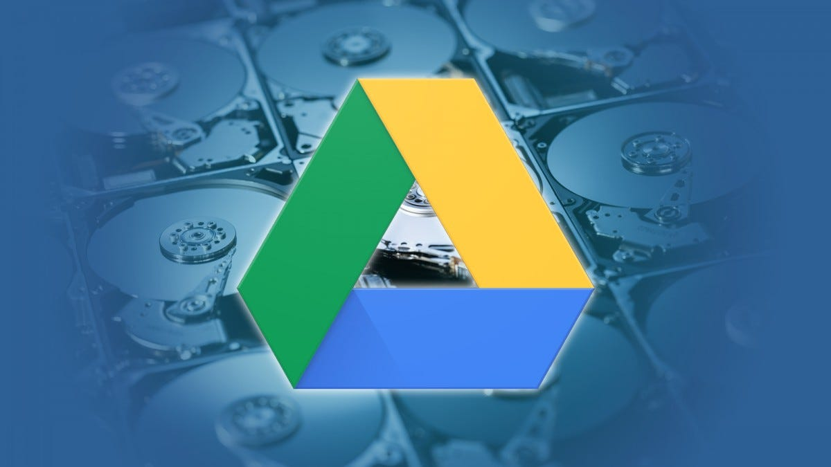 Google Drive logo over hard drives---article header image.
