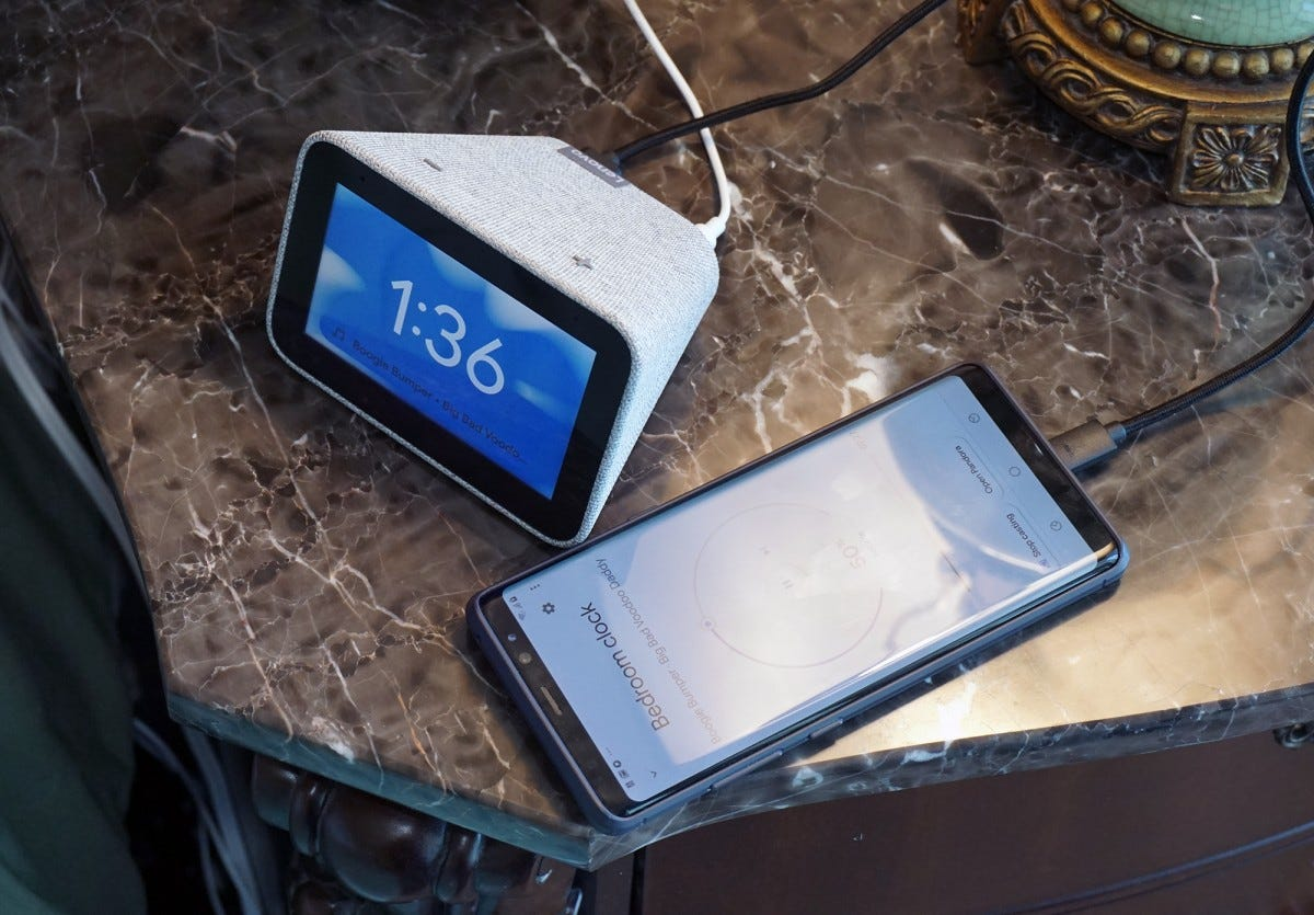The Smart Clock includes a USB port for easily recharging your phone.