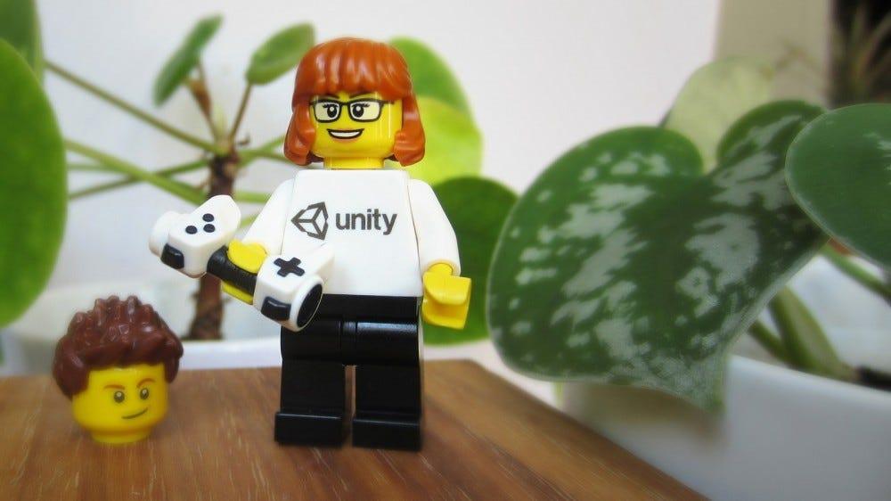 A custom LEGO minifig wearing a Unity-branded shirt.