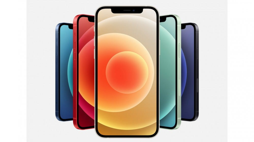 New iPhone 12 with different colored screens