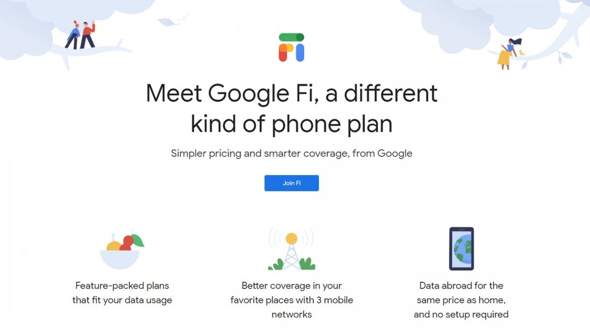 A screenshot of the Google Fi page.