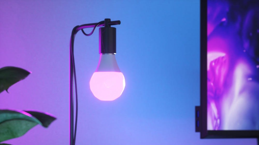 A closeup of the Nanoleaf bulb.