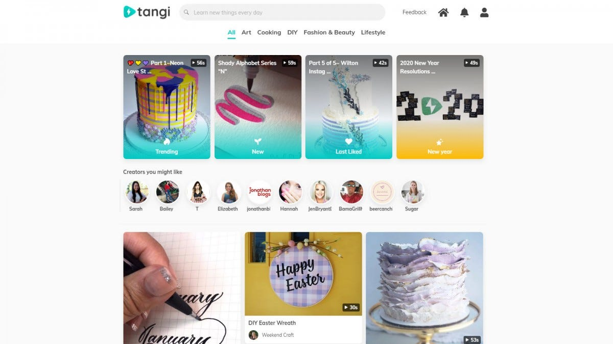 The Tangi website, featuring several cake making tutorials.