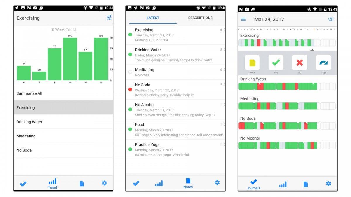 Three screenshots of the Way of Life app.