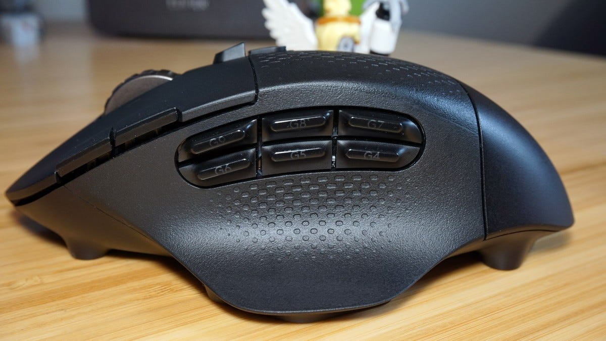 Side view of G604 mouse