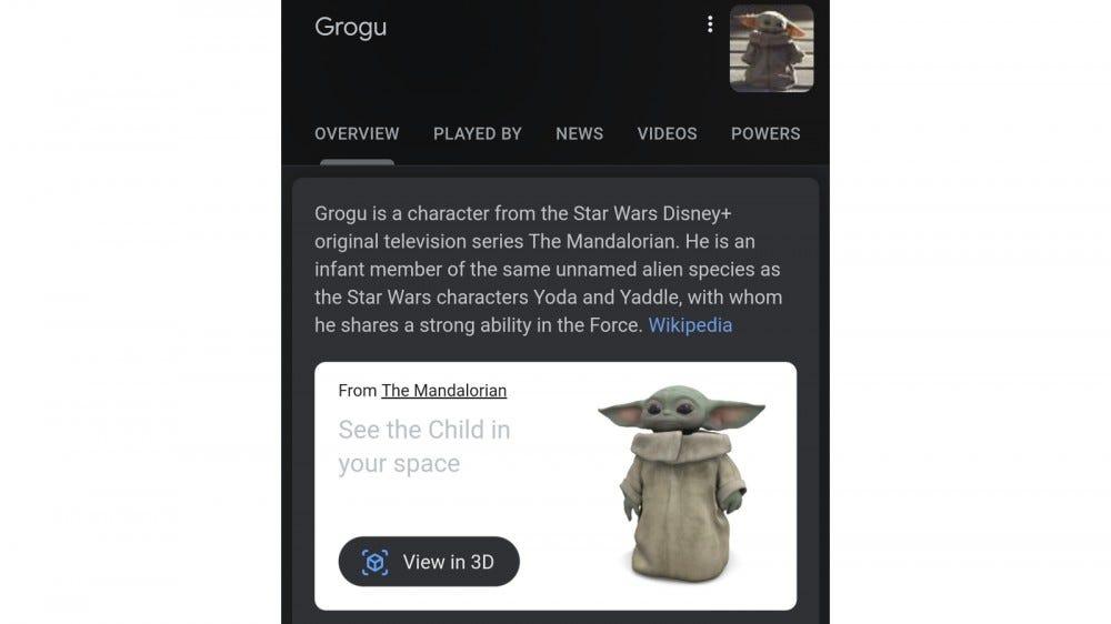 Google 3D model in mobile Google Search