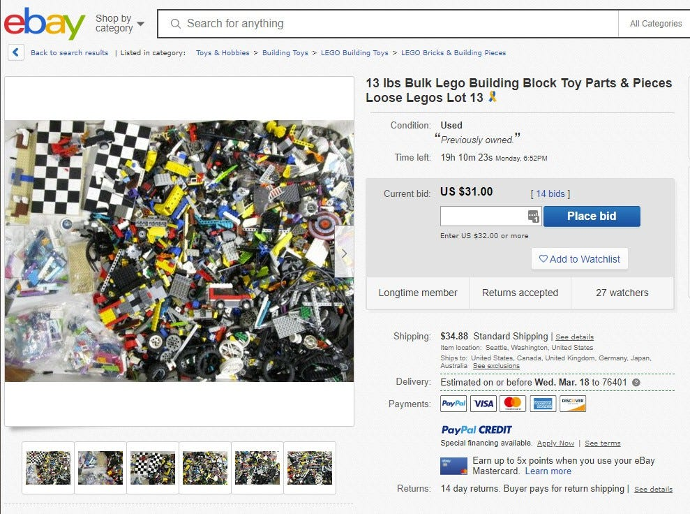 A typical eBay auction for loose LEGO pieces.