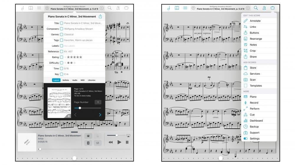 ForScore app for importing and displaying sheet music