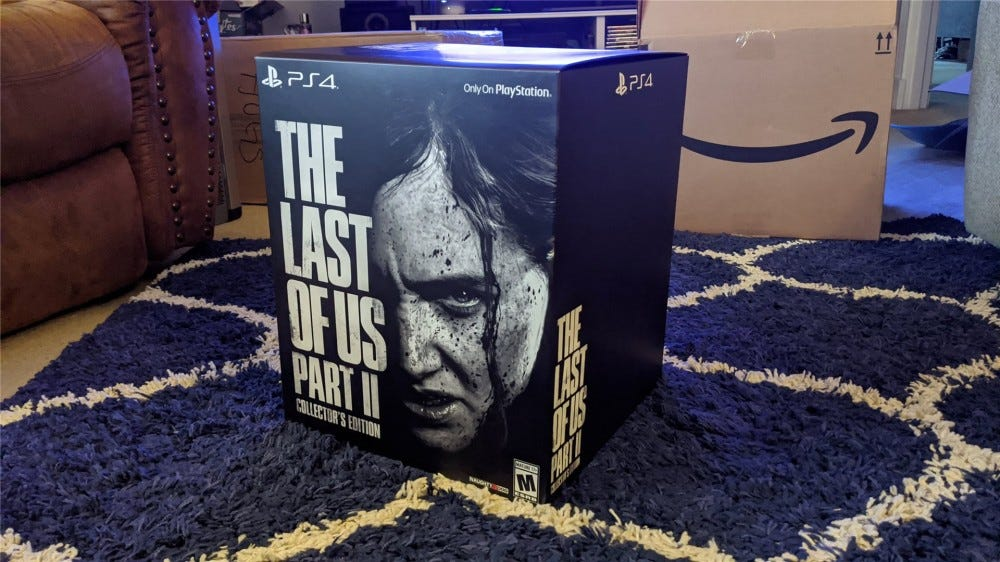 The Last of Us Part II Collector's Edition box on a blue rug