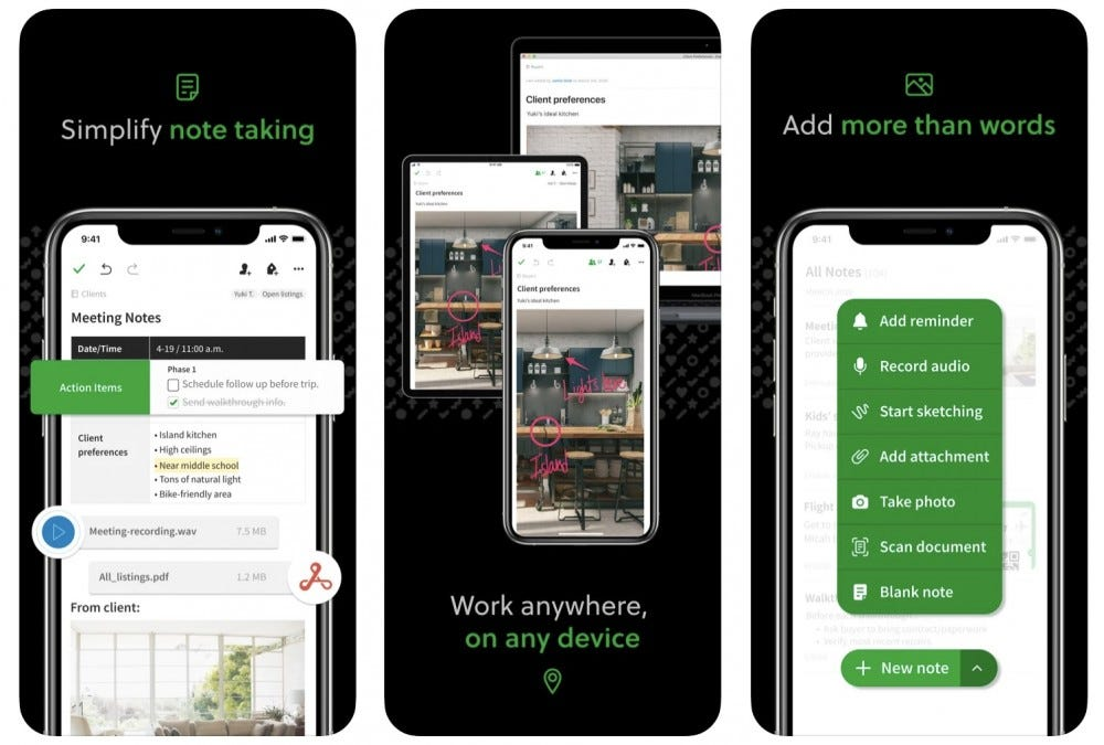 Evernote app example