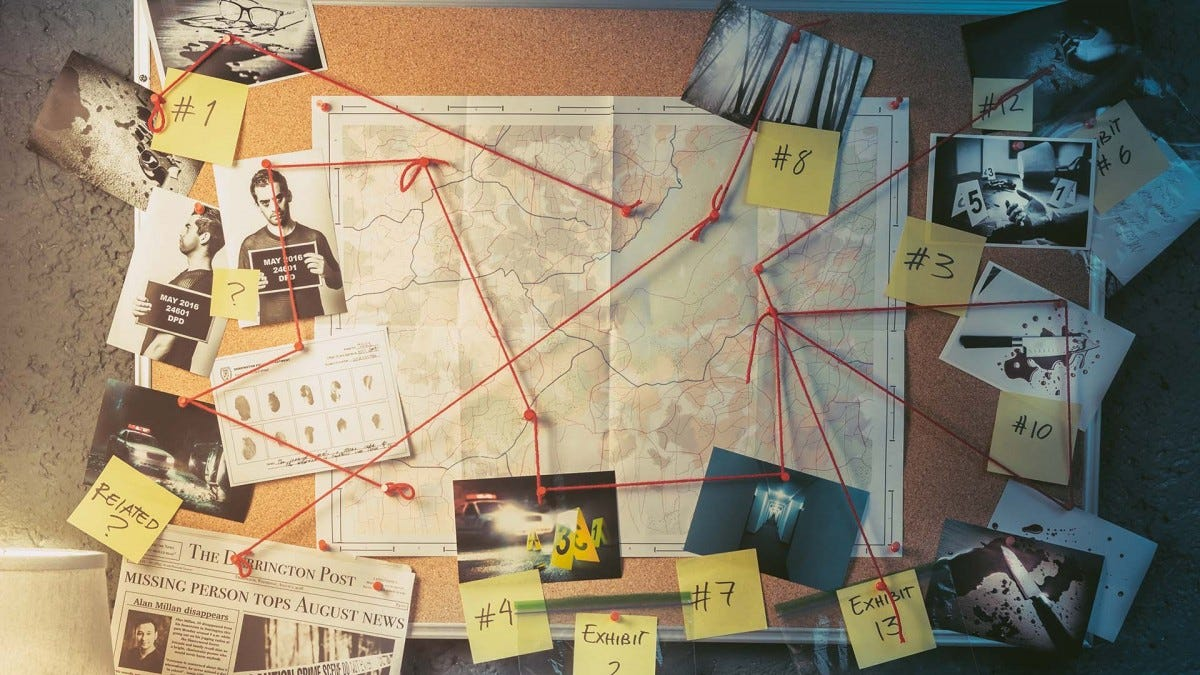cork board, covered in clues used to solve a murder mystery