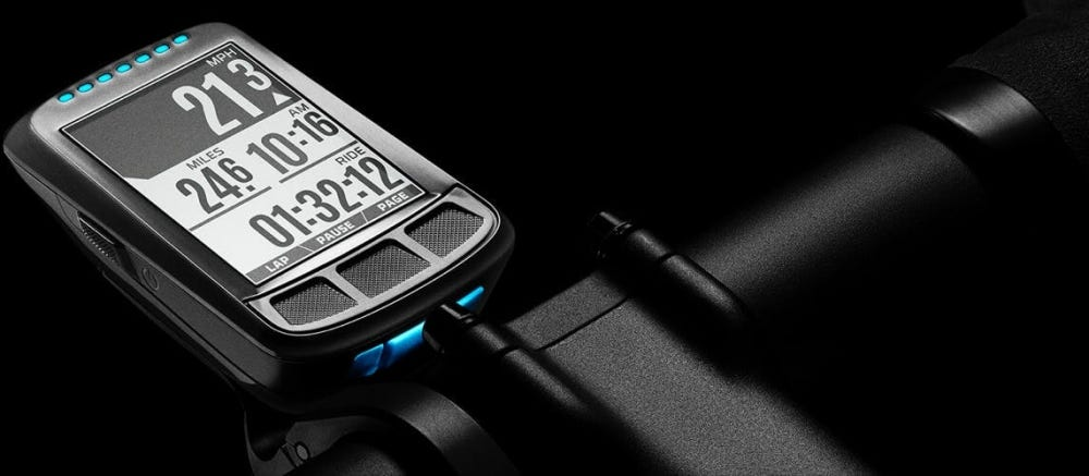 The Wahoo Elemnt Bolt on a black background