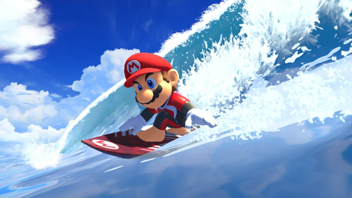 Mario surfing on a red surf board with an M logo.