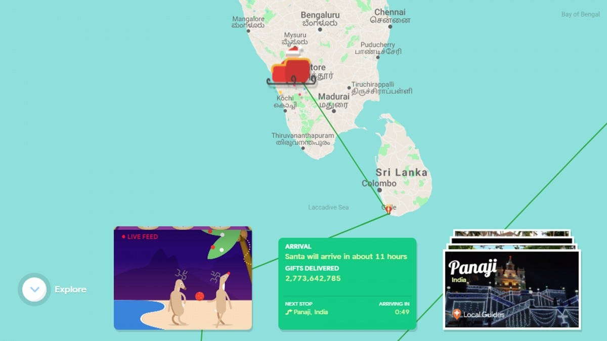 A screenshot from the Google Santa Tracker website.