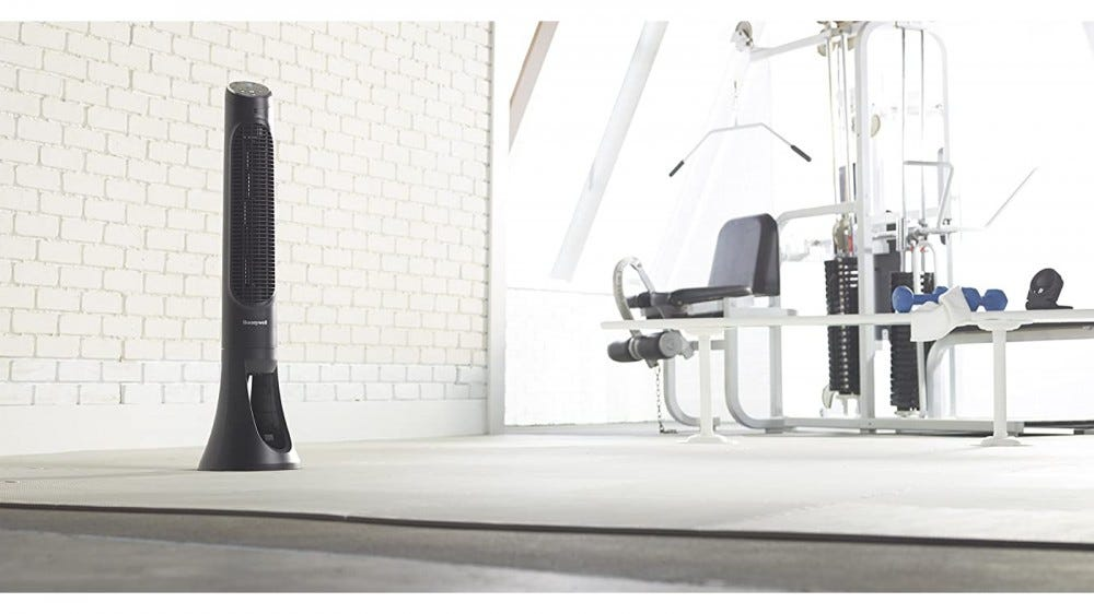 Honeywell QuietSet fan being used in a stylish home gym