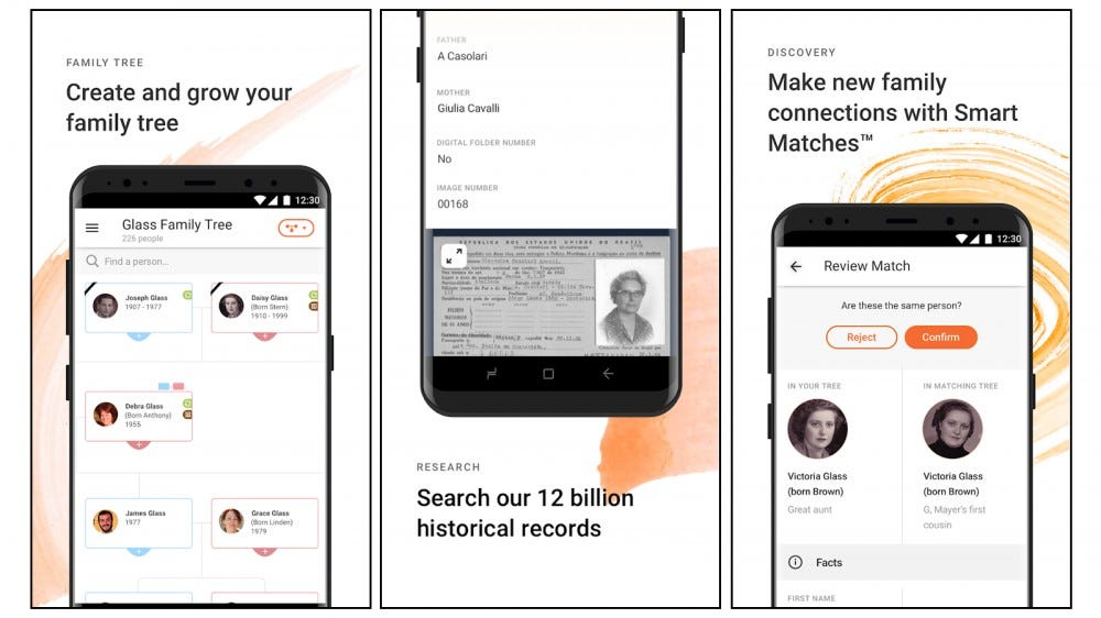 MyHeritage Family Tree genealogy app screenshots for creating your family tree, searching records, and making connections