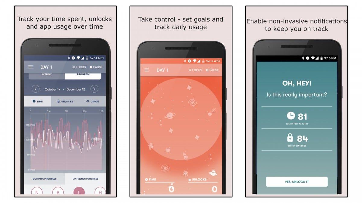 Three screenshots of the Space app