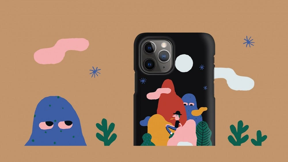 An illustration of a custom Redbubble phone case.