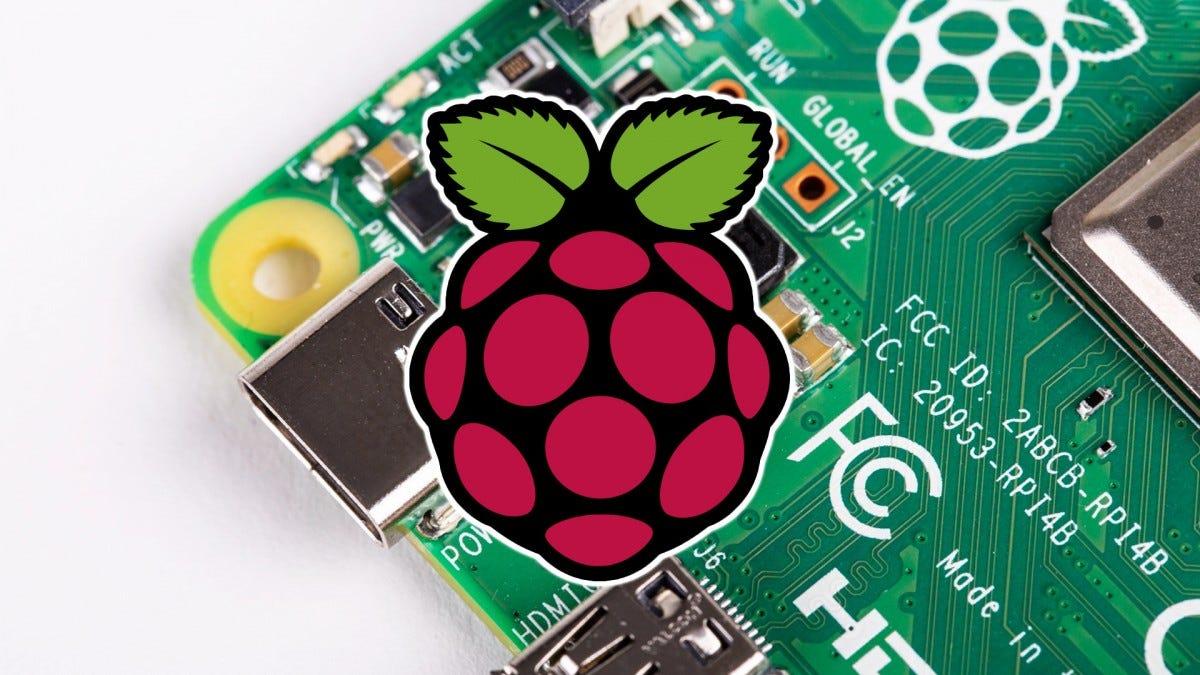 The Raspberry Pi logo superimposed over the Pi 4 board.
