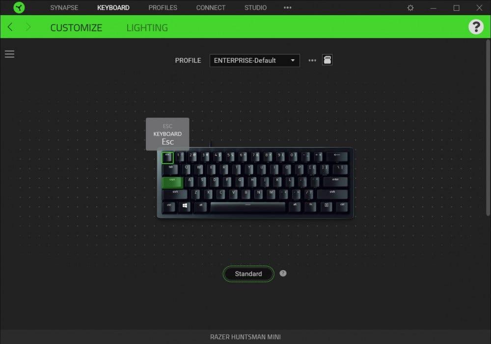 Razer Synapse screenshot, Huntsman Mini