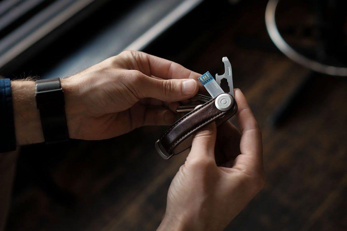 Orbitkey, keychain, orbit key, leather keychain