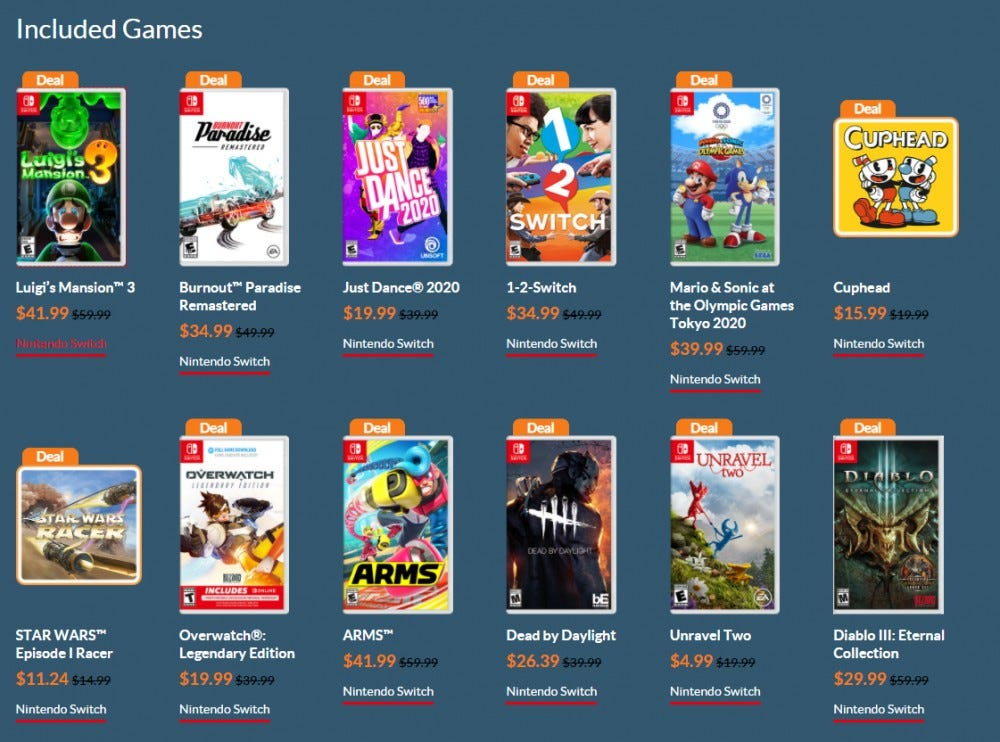 A screenshot of some of the games that are on sale