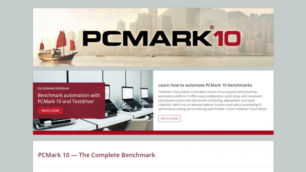 PCMark 10 website home page
