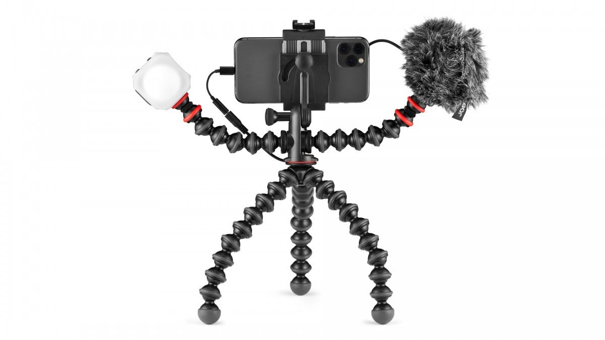 A decked-out GorillaPod Mobile Vlogging rig.