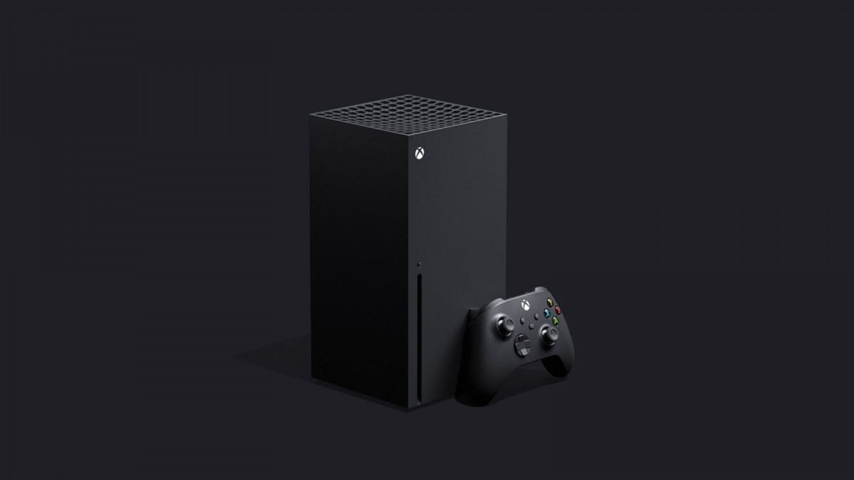 A Xbox Series X console with controller.