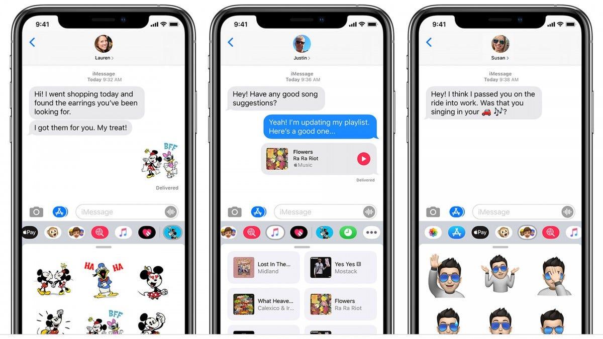 Screenshots of the iMessage app.