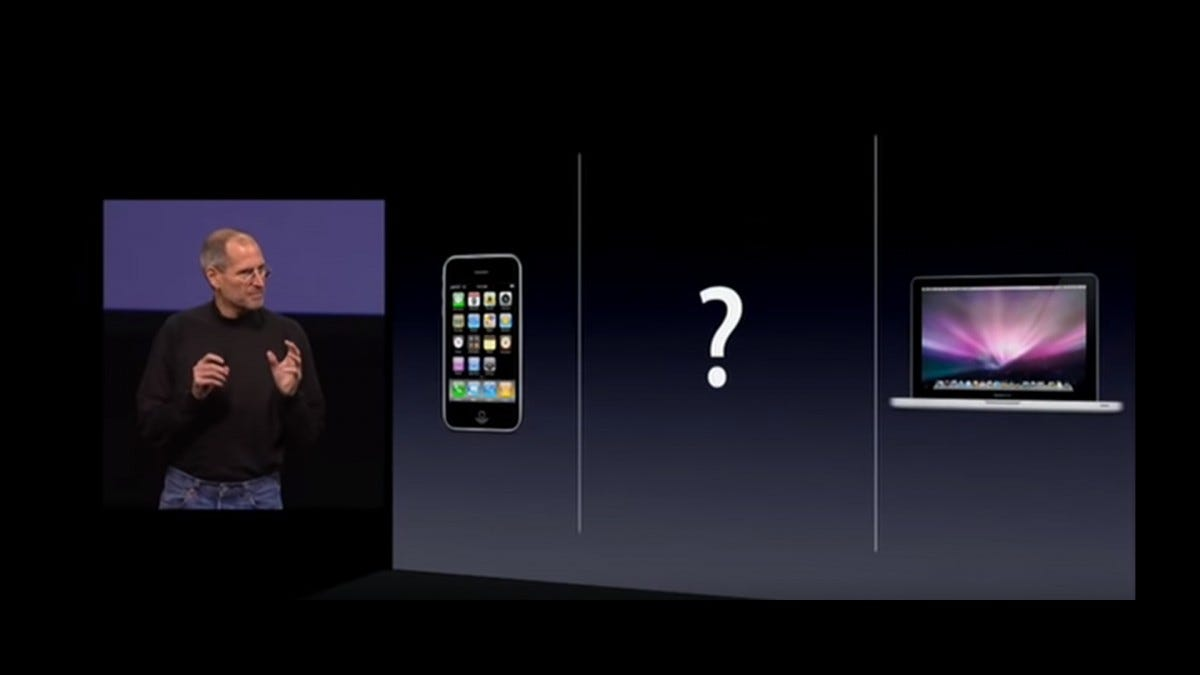 A screenshot of the iPad 2010 launch event. Steve Jobs shows three categories, a phone, a tablet, and a laptop.